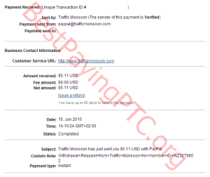 Payment Proof Traffic Monsoon 15 june 2015