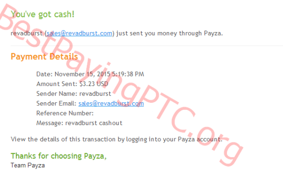Payment Proof Revadburst 15 November 2015