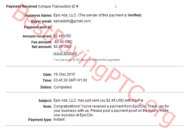 Payment Proof EpicClix 19 December 2015