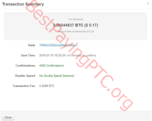Payment Proof FreeBitcoin 10 January 2016 44837 Satoshi