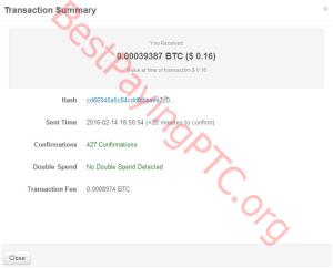 Payment Proof FreeBitcoin 14 February 2016 39387 Satoshi