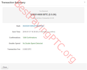 Payment Proof FreeBitcoin 31 January 2016 14908 Satoshi