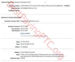 Payment Proof Win2WinBux 16 February 2016 6.07 US dollars