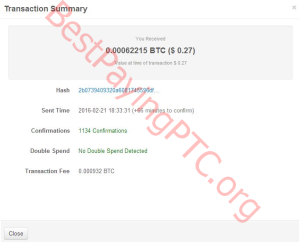 Payment Proof FreeBitcoin 21 February 2016 62215 Satoshi