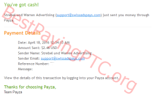 Payment Proof SwissAdsPays 18 April 2016 2.46 us dollars